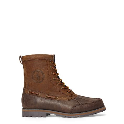 polo ralph whitsand leather boot in brown for