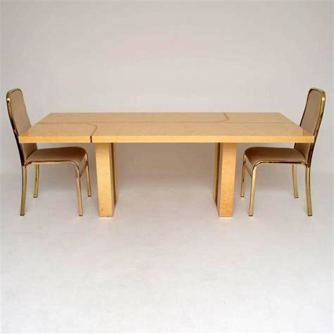 retro italian maple and brass dining table and chairs by