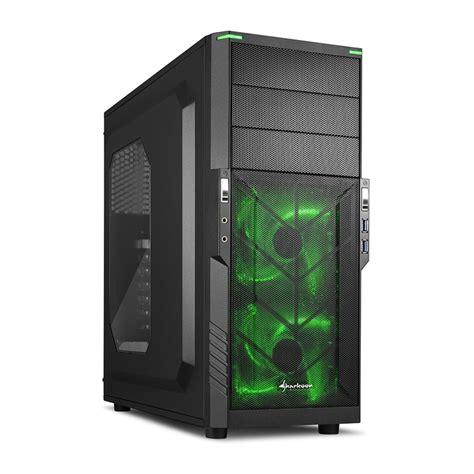 Sharkoon T3 W Gaming Casing Atx Midi Tower Green Blue Led Bla sharkoon t3 w computer geh 228 use mini itx micro atx atx