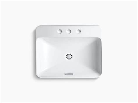K 2660 8 Vox Rectangle Vessel Sink With 8 Inch Centers Kohler Kohler Vox Cutout Template