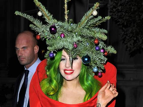our present to you lady gaga dressed as a christmas tree