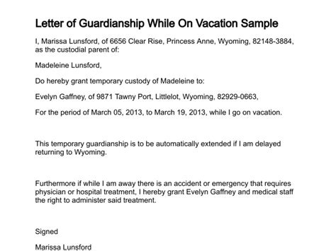 Release Of Guardianship Letter Letter Of Guardianship