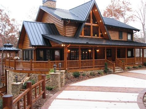 Two Story House Plans With Wrap Around Porch by Two Story Log Cabin House Plans Cool Rustic House Plans