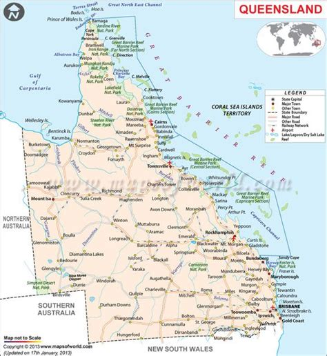 Road Map of Queensland.   Queensland, Australia