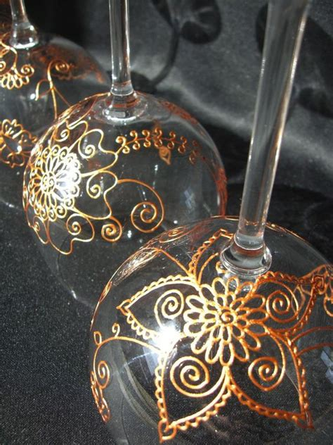 henna design on glass one of kind wine glasses with option to personalize hand