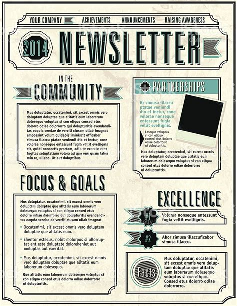 company newsletter design layout flyer template stock