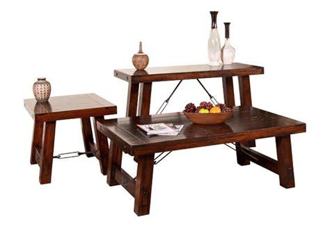 Rustic Mahogany Coffee Table Mahogany Occasional Table Set 3 Rustic Mahogany Table Set