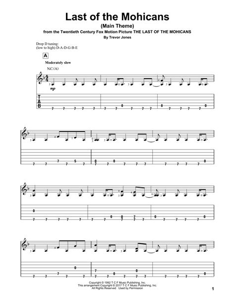 theme song last of the mohicans last of the mohicans main theme guitar tab by trevor