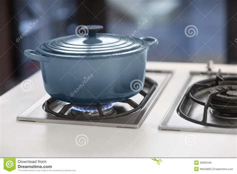 Gas Pot Blue Pot On A Gas Stove Royalty Free Stock Photo Image