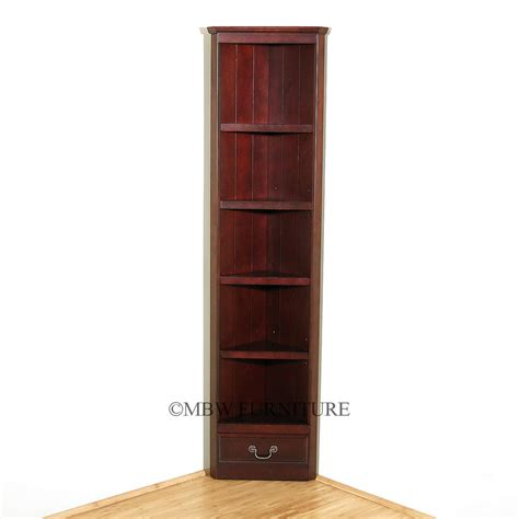 Corner Cabinet Bookshelf Cherry Louis Phillipe 5 Shelf Corner Open Bookcase