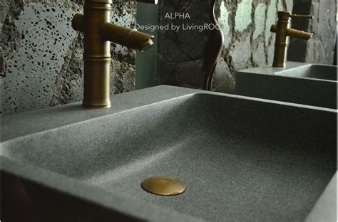 genuine trendy gray granite vessel sink faucet hole alpha