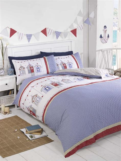 lighthouse bedding beach hut lighthouse checked blue duvet cover