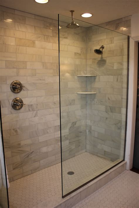 Bathroom Glass Shower Ideas Cool Glass Doorless Shower Design Decor With Brick Soft