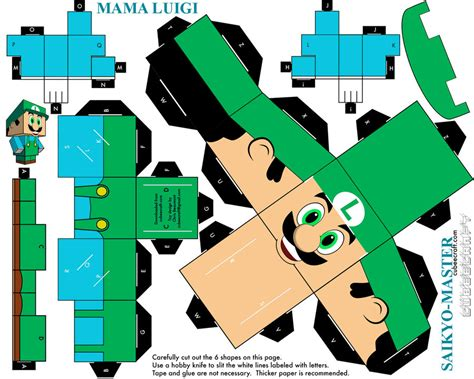 Mario Papercraft - flower luigi cubeecraft papercraft by