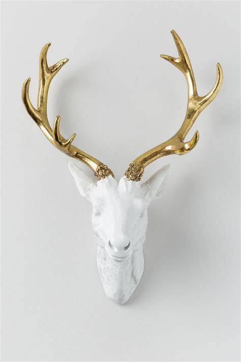 deer head home decor gold antler resin deer head wall decor francesca s