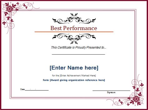 performer certificate templates best performance award certificate template document