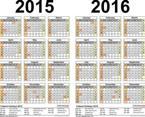 2014 To 2017 Calendar 2015 2016 Calendar Free Printable Two Year Excel Calendars