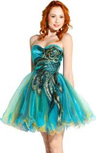 fashion trends cheap short peacock prom dresses