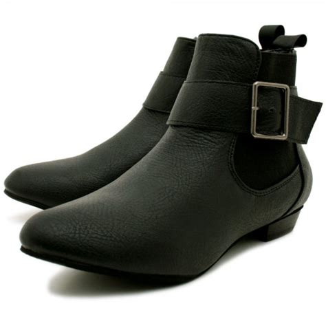 womens black leather style buckle flat chelsea ankle boots