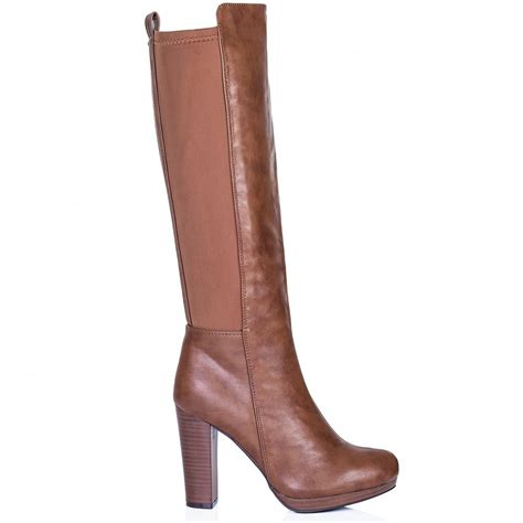 high heel brown leather boots buy haati block heel stretch knee high boots brown leather