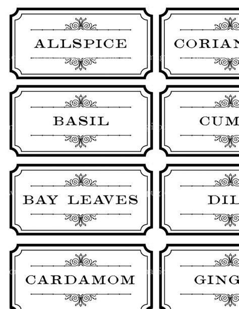 spice label templates black and white spice and herb labels set digital collage