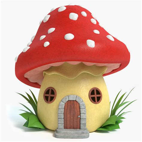mushroom house 3d model of cartoon mushroom house