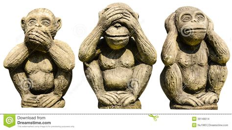 three monkeys statues stock photo image 39148514