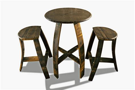 Flattened Stools by 26 Table Set With Flat Stool Bourbon Barrel