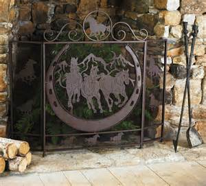running horses fireplace screen eclectic fireplace