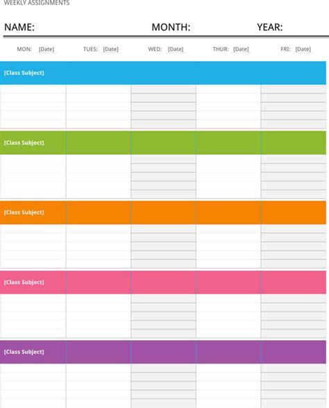 download weekly assignment calendar template for free