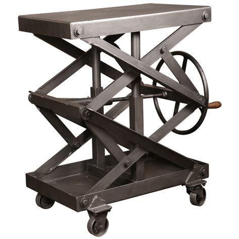 original vintage industrial adjustable steel scissor lift