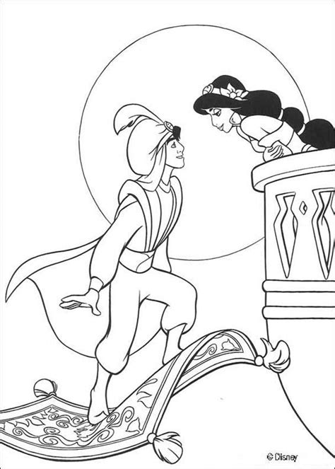 aladdin and jasmine rose rug disney coloring pages