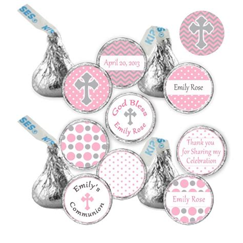 Hershey Kiss Stickers Printable Personalized Pink Chevron Polka Dots Christening Occasion Labels Personalized Hershey Kisses Stickers Template