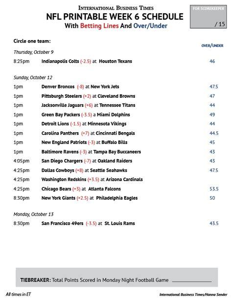 printable nfl schedule by week 2015 printable nfl schedule week 16 search results calendar