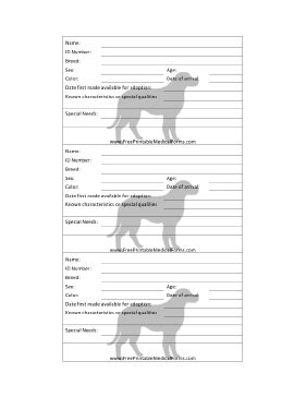 kennel cage card template printable adoption 3x5 cage card
