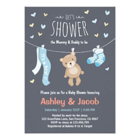 teddy baby shower invitations teddy baby shower invitations announcements zazzle