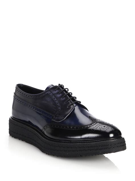 black sole sneakers prada creeper lug sole leather derby shoes in black for