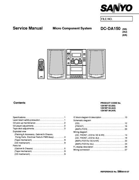 SANYO DC-DA150 Service Manual download, schematics, eeprom