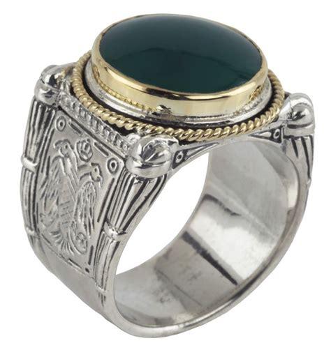 Rcc2597 Aksesoris Cincin Multi Ring Set konstantino sterling silver 18k gold boxed green agate ring sterling silver