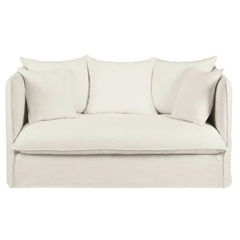 sofa bed linen white 2 seater washed linen sofa bed wowhome uk