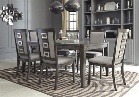 Furniture 7 Extension Dining Room Set In Graphite 7 Chadoni Grey Extension Dining Table And Side Chairs Set