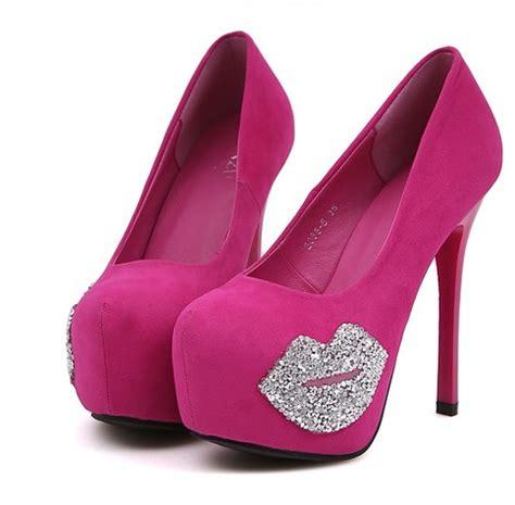 High Heels Pink B diamante pink and black high heel pumps on luulla