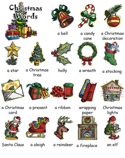 time for english christmas vocabulary