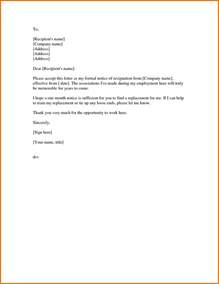 Sle Of Resignation Letter One Month Notice by 8 Formal Resignation Letter Sle With Notice Period Receipts Template