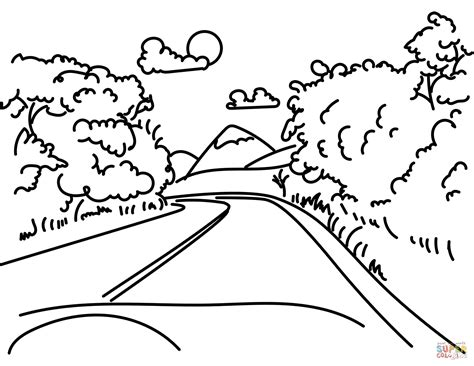 Coloring Page Road by Road In Mountain Coloring Page Free Printable Coloring Pages