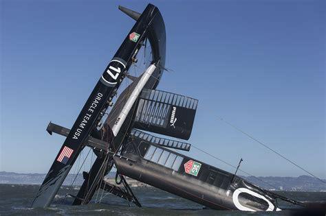 catamaran sailboat capsize oracle team usa yacht ac72 capsized on san francisco bay