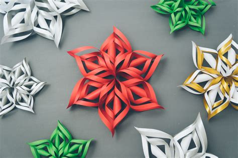 3d Snowflakes Paper Craft - how to make 3d paper snowflake diy crafts handimania