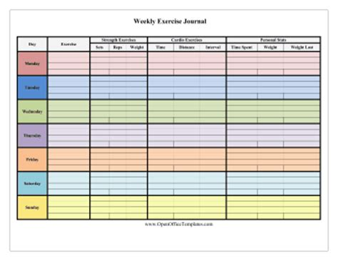 open office journal template colorful 7 day exercise log openoffice template