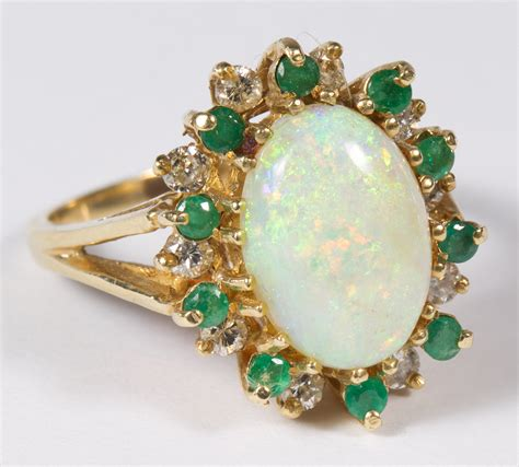14k gold opal emerald and ring leonard auction