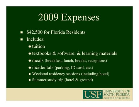 Of Florida Mba Program Requirements by Usf Mba Program 2009 2010